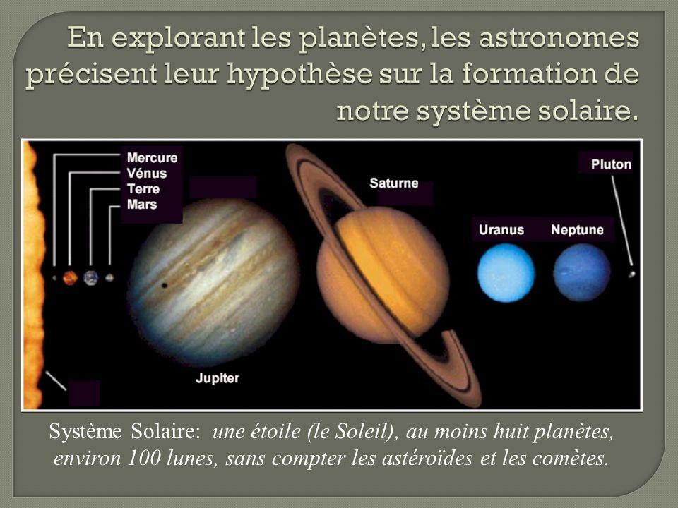 Système Solaire: une étoile (le Soleil), au moins huit planètes, environ 100 lunes, sans compter les astéroïdes et les comètes.