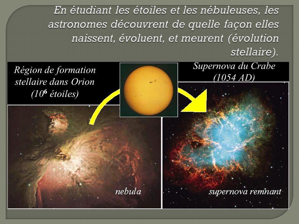 Région de formation stellaire dans Orion (10 6 étoiles) Supernova du Crabe (1054 AD)