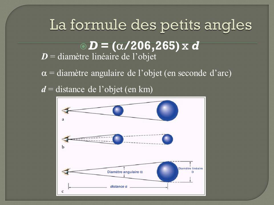 D = ( /206,265) x d D = diamètre linéaire de lobjet = diamètre angulaire de lobjet (en seconde darc) d = distance de lobjet (en km)