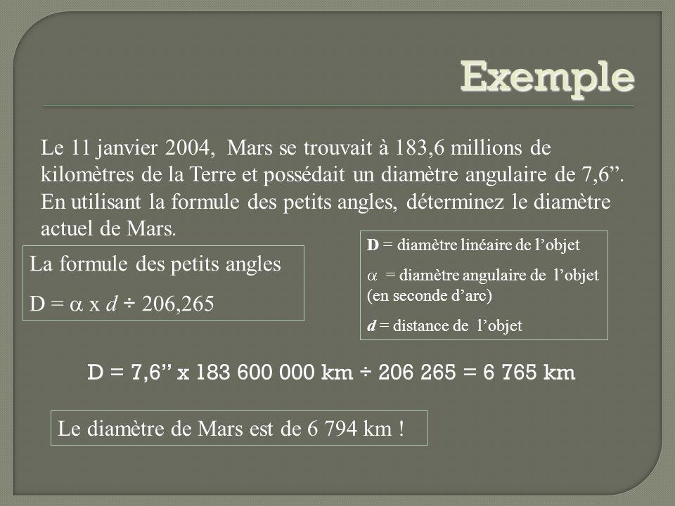 Exemple Le 11 janvier 2004, Mars se trouvait à 183,6 millions de kilomètres de la Terre et possédait un diamètre angulaire de 7,6. En utilisant la for