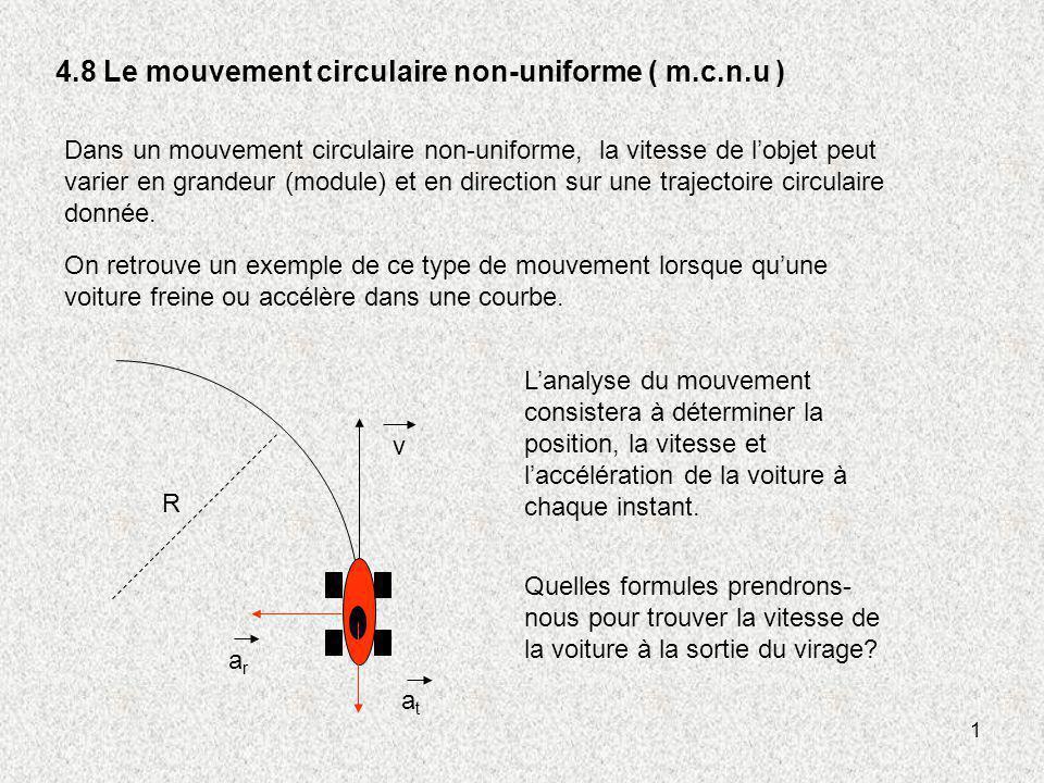 1 4.8 Le mouvement circulaire non-uniforme ( m.c.n.u ) Dans un mouvement circulaire non-uniforme, la vitesse de lobjet peut varier en grandeur (module