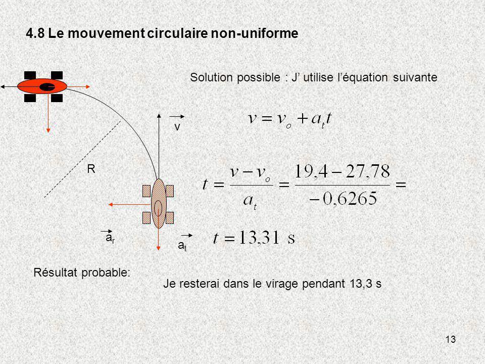 13 4.8 Le mouvement circulaire non-uniforme v R atat arar Solution possible : J utilise léquation suivante Résultat probable: Je resterai dans le vira