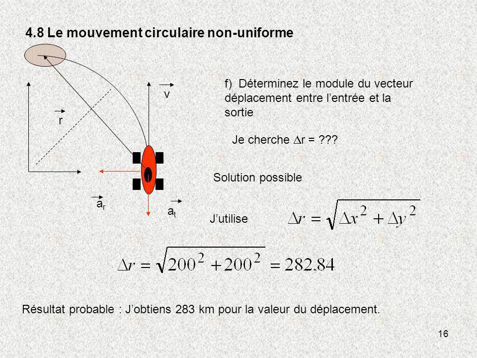16 4.8 Le mouvement circulaire non-uniforme v r atat arar f) Déterminez le module du vecteur déplacement entre lentrée et la sortie Je cherche r = ???