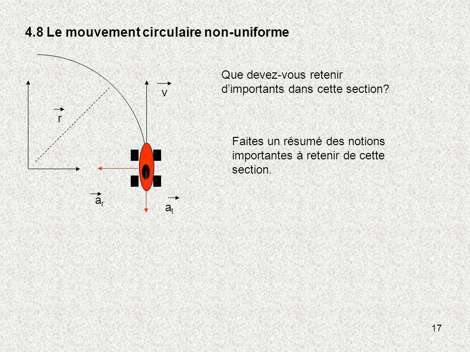 17 4.8 Le mouvement circulaire non-uniforme v r atat arar Faites un résumé des notions importantes à retenir de cette section. Que devez-vous retenir