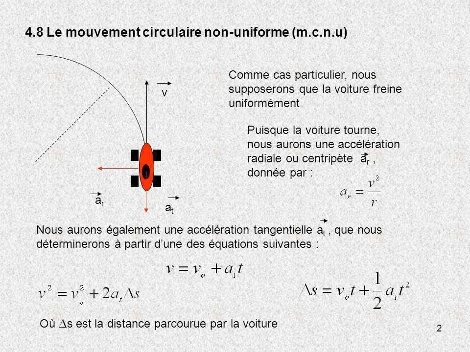 2 4.8 Le mouvement circulaire non-uniforme (m.c.n.u) v atat arar Comme cas particulier, nous supposerons que la voiture freine uniformément Nous auron