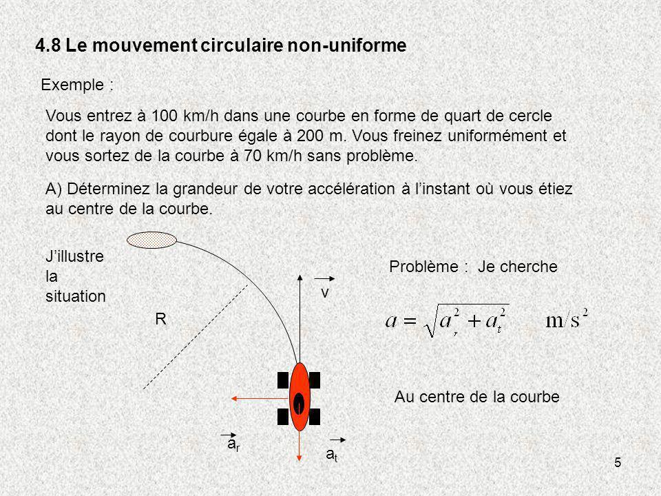 5 4.8 Le mouvement circulaire non-uniforme Exemple : Vous entrez à 100 km/h dans une courbe en forme de quart de cercle dont le rayon de courbure égal