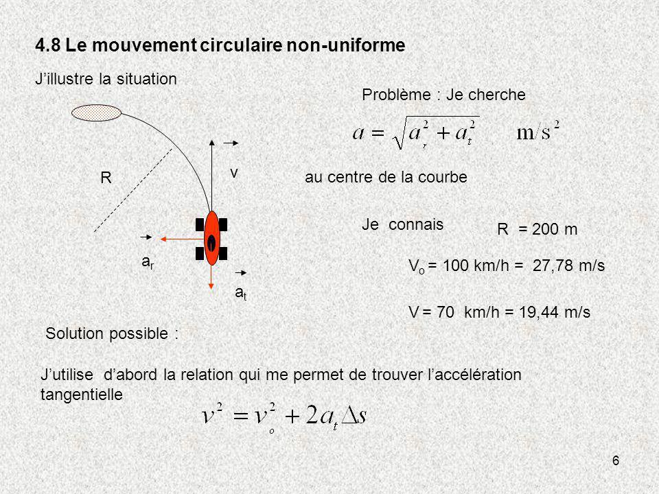 6 4.8 Le mouvement circulaire non-uniforme Jillustre la situation Problème : Je cherche Je connais V o = 100 km/h = 27,78 m/s V = 70 km/h = 19,44 m/s