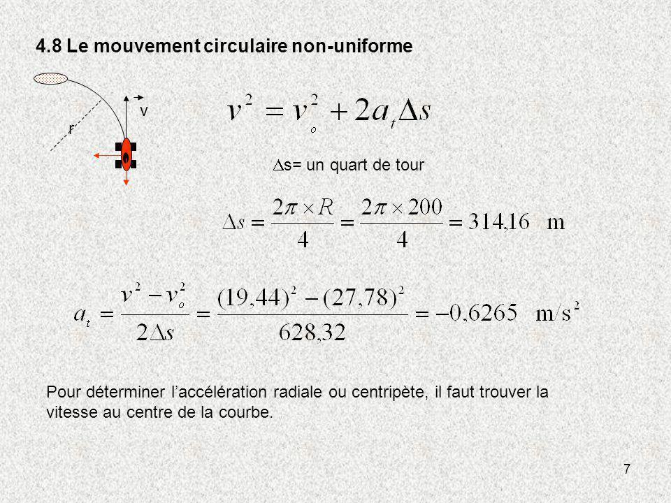 7 4.8 Le mouvement circulaire non-uniforme v r s= un quart de tour Pour déterminer laccélération radiale ou centripète, il faut trouver la vitesse au