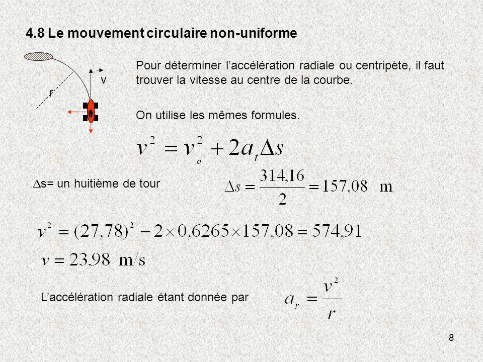 8 4.8 Le mouvement circulaire non-uniforme v r s= un huitième de tour On utilise les mêmes formules. Pour déterminer laccélération radiale ou centripè