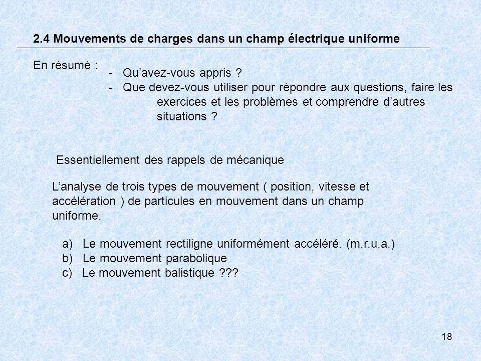 18 En résumé : 2.4 Mouvements de charges dans un champ électrique uniforme Lanalyse de trois types de mouvement ( position, vitesse et accélération )