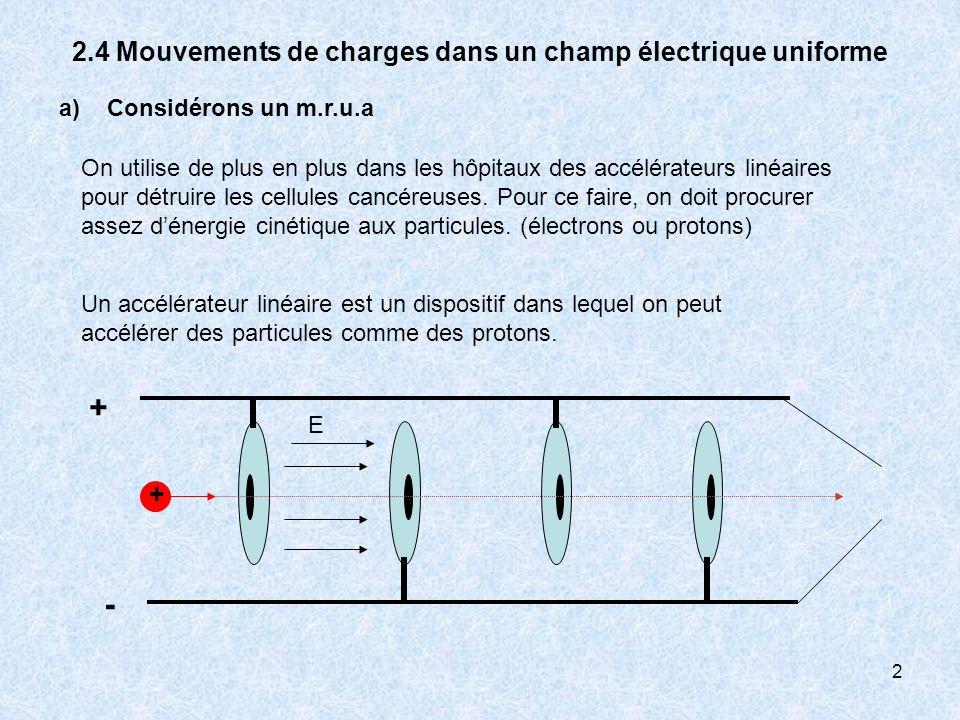 2 2.4 Mouvements de charges dans un champ électrique uniforme a) Considérons un m.r.u.a Un accélérateur linéaire est un dispositif dans lequel on peut