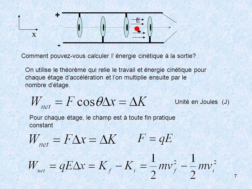 7 + + - E x Comment pouvez-vous calculer l énergie cinétique à la sortie? On utilise le théorème qui relie le travail et énergie cinétique pour chaque
