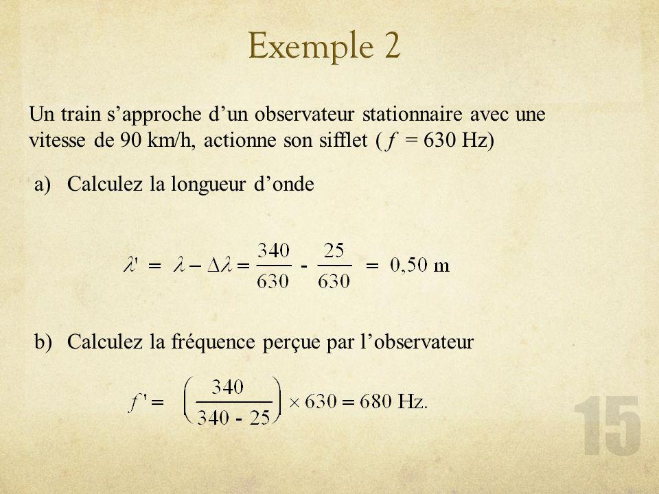 Un train sapproche dun observateur stationnaire avec une vitesse de 90 km/h, actionne son sifflet ( f = 630 Hz) a)Calculez la longueur donde b)Calculez la fréquence perçue par lobservateur