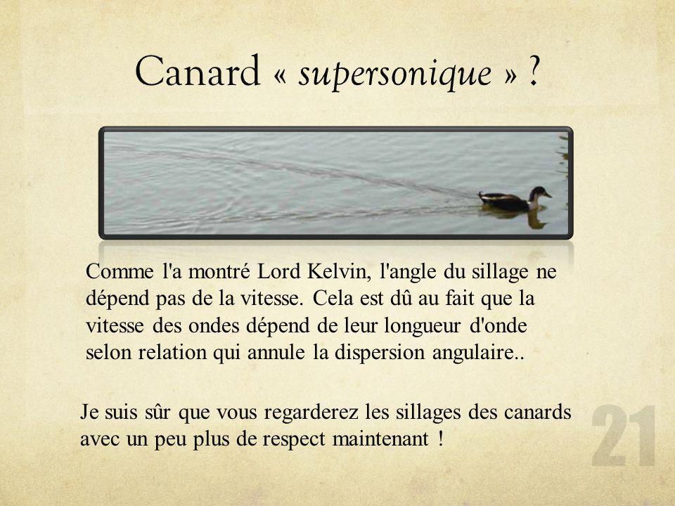 Je suis sûr que vous regarderez les sillages des canards avec un peu plus de respect maintenant ! Comme l'a montré Lord Kelvin, l'angle du sillage ne