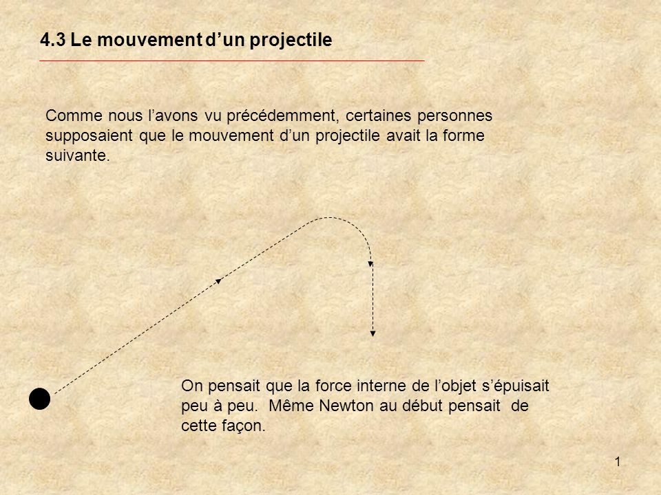 22 4.3 Le mouvement dun projectile Situation : y x X max Attention, pour trouver « x max » la position où la balle touche le sol, il faut utiliser : c) Et On trouve le temps pour lequel y = 0, On obtient: t 1 = - 0,0681 s et t 2 =2,99 s finalement x max = 62,6 m Portée horizontale