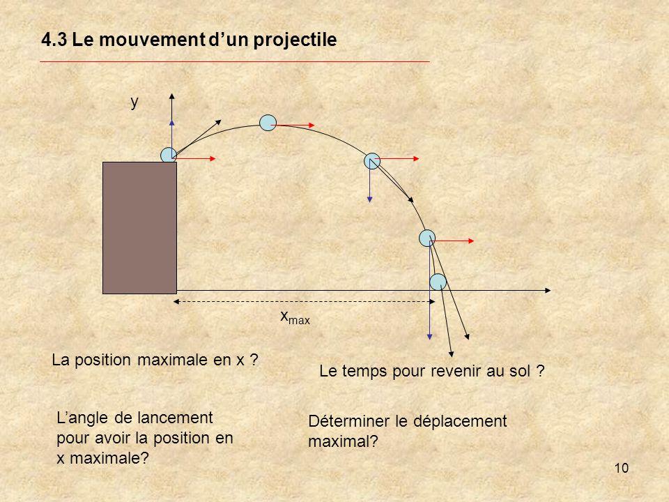 10 4.3 Le mouvement dun projectile y La position maximale en x ? Langle de lancement pour avoir la position en x maximale? Le temps pour revenir au so