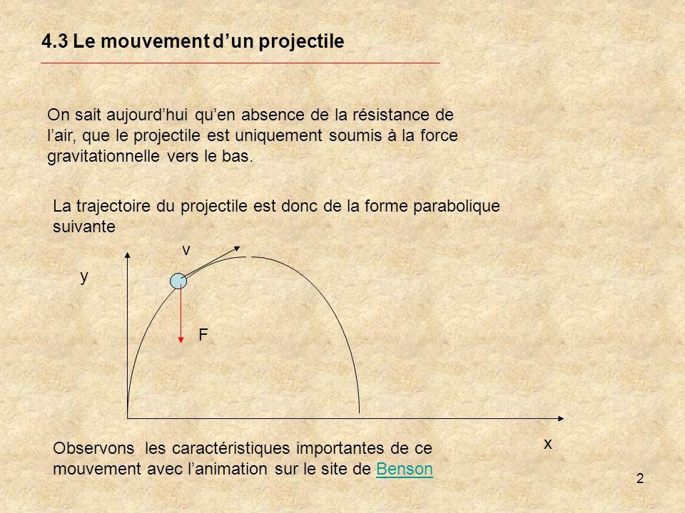 2 4.3 Le mouvement dun projectile On sait aujourdhui quen absence de la résistance de lair, que le projectile est uniquement soumis à la force gravita