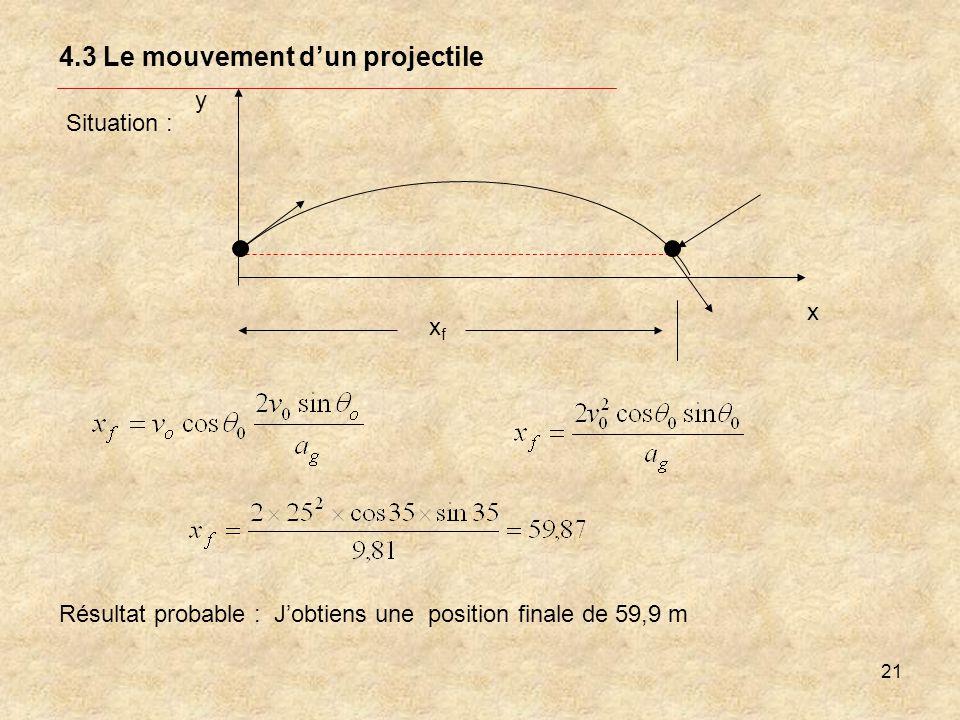 21 4.3 Le mouvement dun projectile Situation : y x xfxf Résultat probable : Jobtiens une position finale de 59,9 m