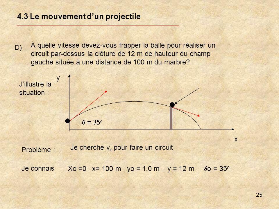25 4.3 Le mouvement dun projectile D) À quelle vitesse devez-vous frapper la balle pour réaliser un circuit par-dessus la clôture de 12 m de hauteur d