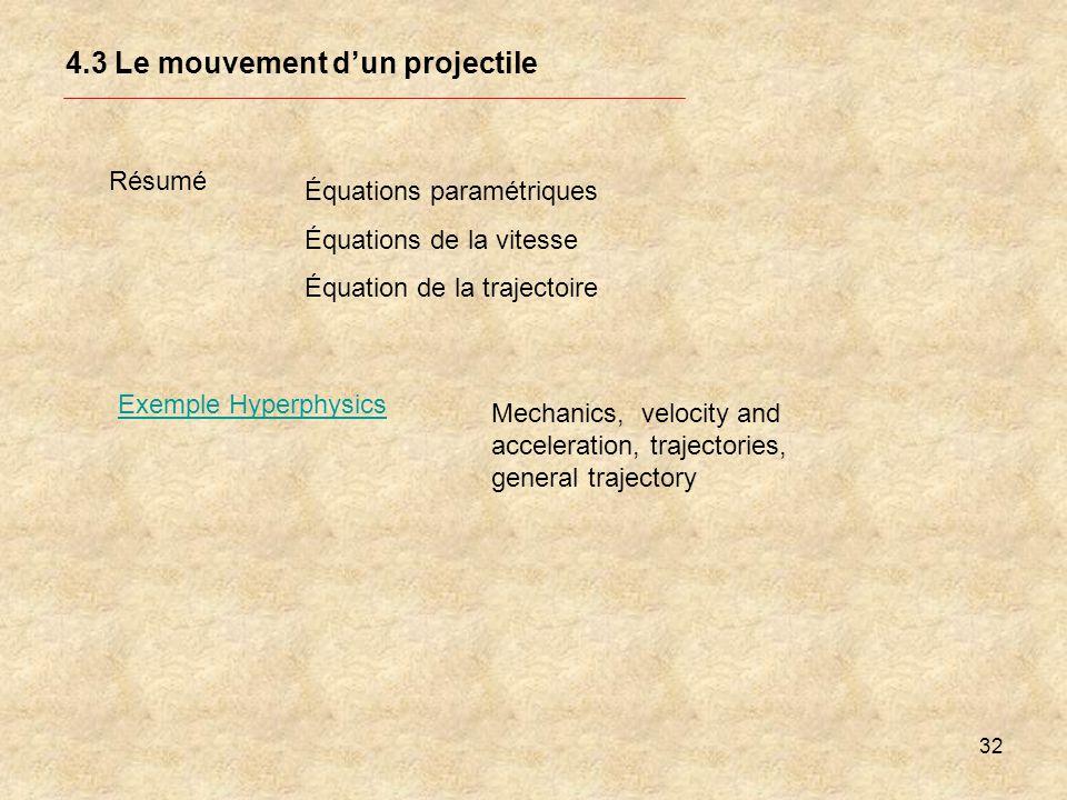 32 4.3 Le mouvement dun projectile Exemple Hyperphysics Résumé Équations paramétriques Équations de la vitesse Équation de la trajectoire Mechanics, v