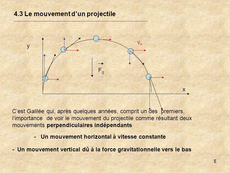 5 4.3 Le mouvement dun projectile y Cest Galilée qui, après quelques années, comprit un des premiers, limportance de voir le mouvement du projectile c