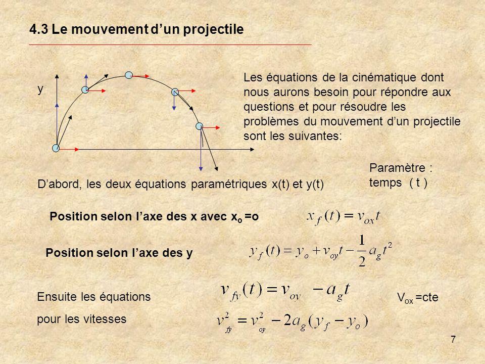 18 4.3 Le mouvement dun projectile C) Déterminer la position en x f de la balle lorsque y=y o Problème: Je cherche x f Je connais Xo =0 y= yo = 1,0 m vo = 25 m/s o = 35o Situation : y x xfxf