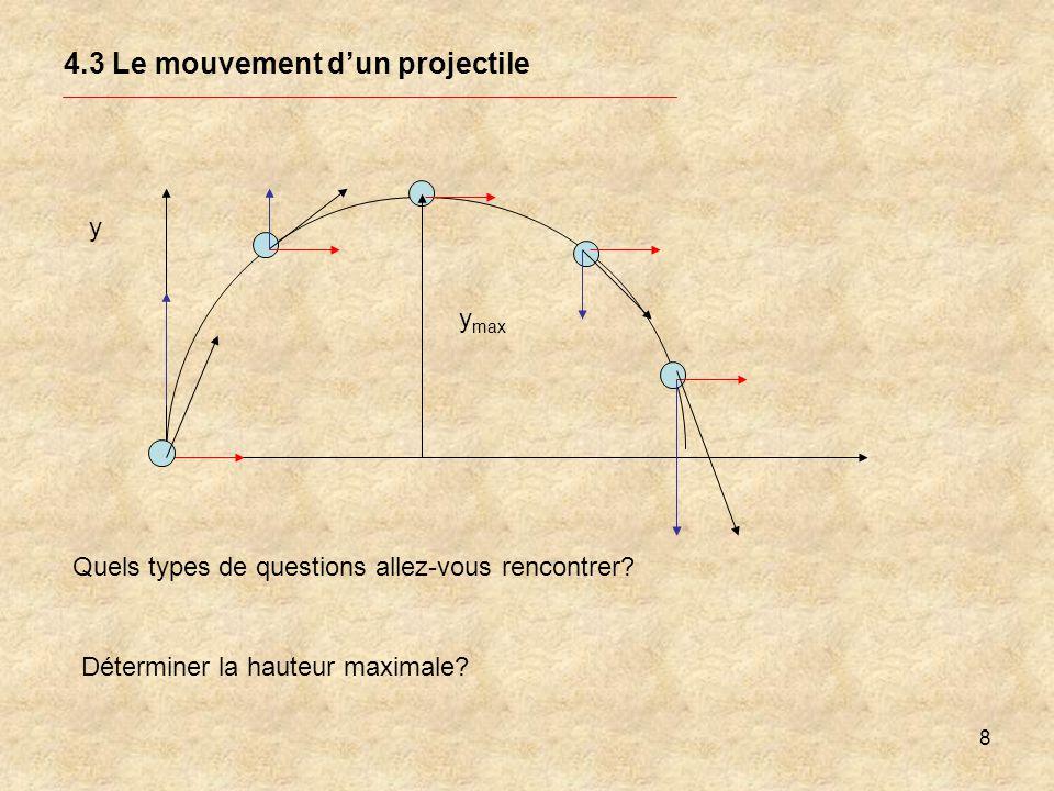 8 4.3 Le mouvement dun projectile y Quels types de questions allez-vous rencontrer? Déterminer la hauteur maximale? y max