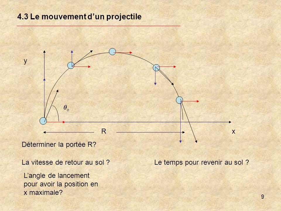 9 4.3 Le mouvement dun projectile y Déterminer la portée R? La vitesse de retour au sol ? Langle de lancement pour avoir la position en x maximale? Le