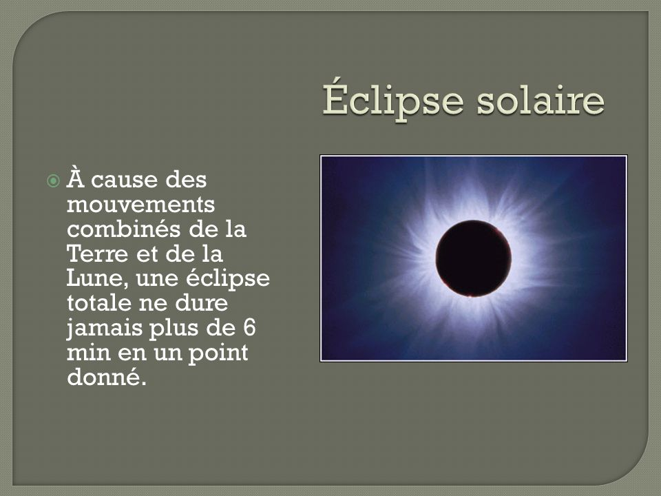 À cause des mouvements combinés de la Terre et de la Lune, une éclipse totale ne dure jamais plus de 6 min en un point donné.