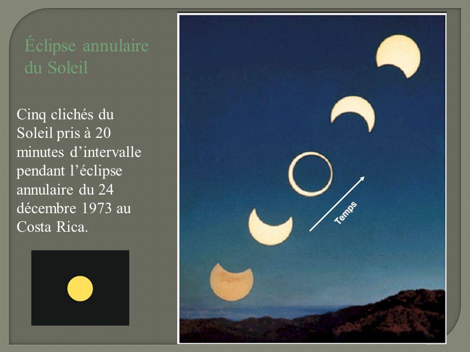Éclipse annulaire du Soleil Cinq clichés du Soleil pris à 20 minutes dintervalle pendant léclipse annulaire du 24 décembre 1973 au Costa Rica.