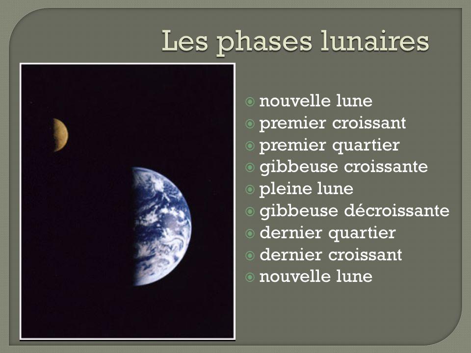 nouvelle lune premier croissant premier quartier gibbeuse croissante pleine lune gibbeuse décroissante dernier quartier dernier croissant nouvelle lune