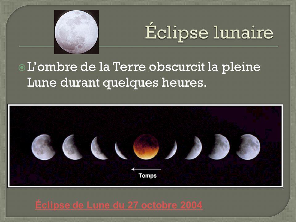 Lombre de la Terre obscurcit la pleine Lune durant quelques heures. Éclipse de Lune du 27 octobre 2004