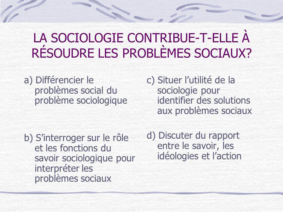 LA SOCIOLOGIE CONTRIBUE-T-ELLE À RÉSOUDRE LES PROBLÈMES SOCIAUX.