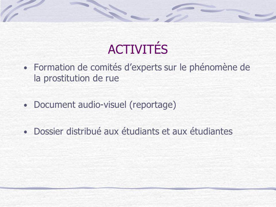 ACTIVITÉS Formation de comités dexperts sur le phénomène de la prostitution de rue Document audio-visuel (reportage) Dossier distribué aux étudiants et aux étudiantes