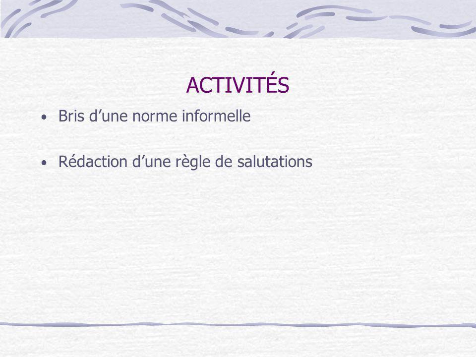 ACTIVITÉS Bris dune norme informelle Rédaction dune règle de salutations