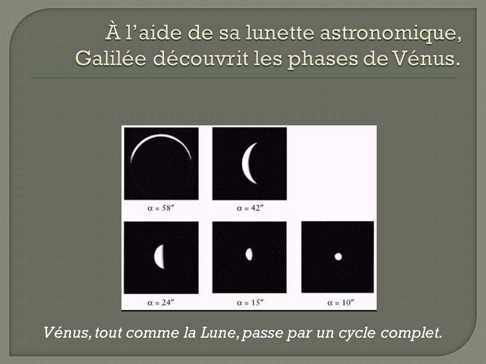 Vénus, tout comme la Lune, passe par un cycle complet.