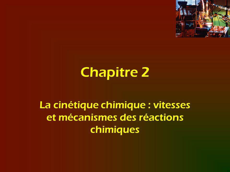 Chapitre 2 La cinétique chimique : vitesses et mécanismes des réactions chimiques