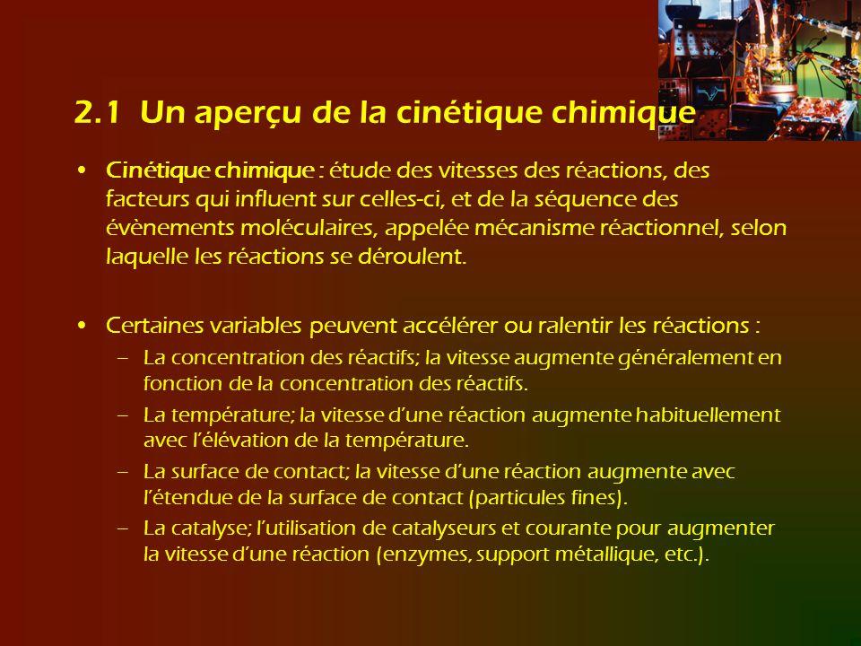 2.1 Un aperçu de la cinétique chimique Cinétique chimique : étude des vitesses des réactions, des facteurs qui influent sur celles-ci, et de la séquen