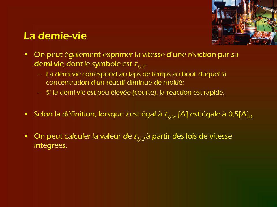 La demie-vie On peut également exprimer la vitesse dune réaction par sa demi-vie, dont le symbole est t 1/2. –La demi-vie correspond au laps de temps