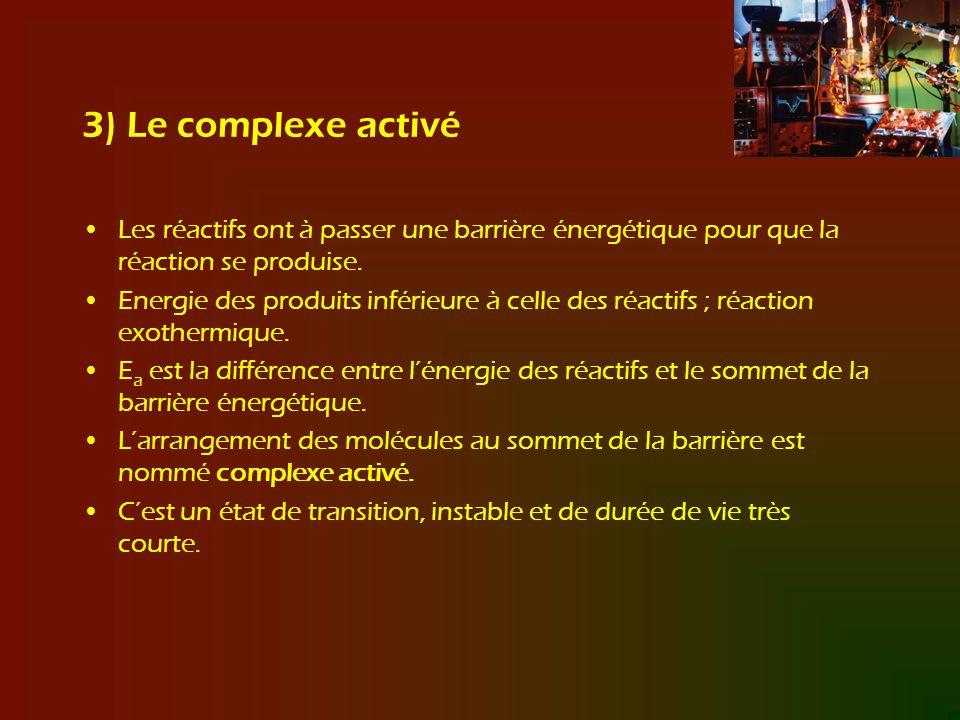 3) Le complexe activé Les réactifs ont à passer une barrière énergétique pour que la réaction se produise. Energie des produits inférieure à celle des
