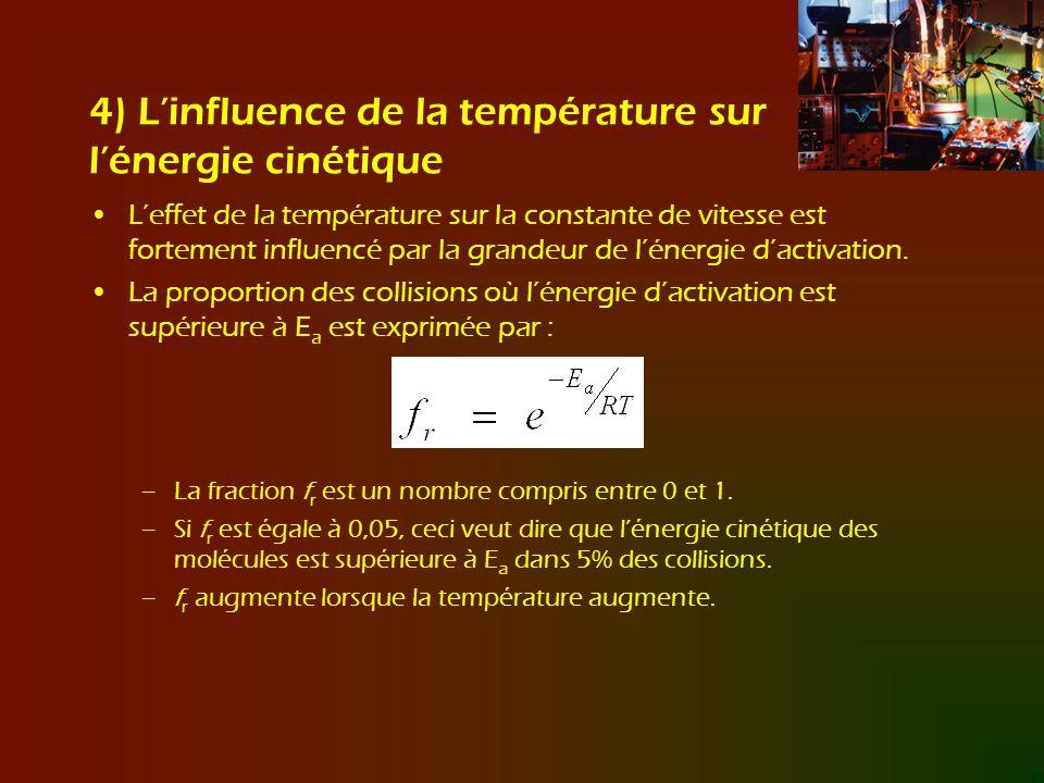 4) Linfluence de la température sur lénergie cinétique Leffet de la température sur la constante de vitesse est fortement influencé par la grandeur de