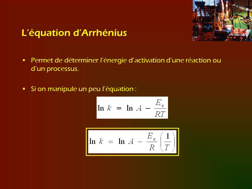 Léquation dArrhénius Permet de déterminer lénergie dactivation dune réaction ou dun processus. Si on manipule un peu léquation :