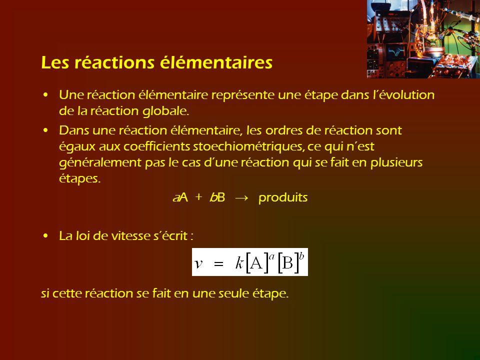 Les réactions élémentaires Une réaction élémentaire représente une étape dans lévolution de la réaction globale. Dans une réaction élémentaire, les or