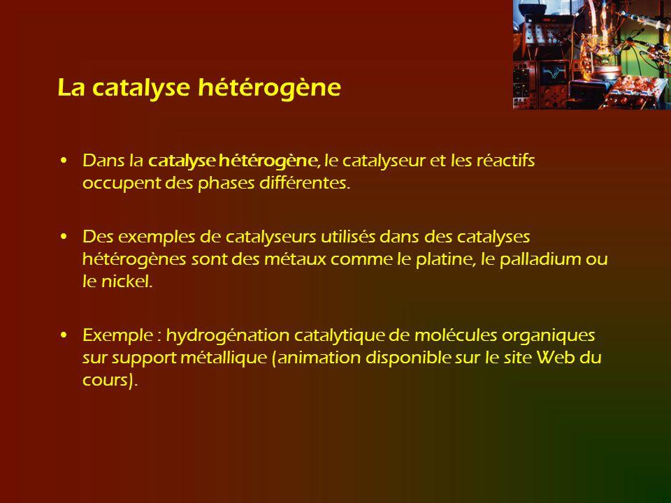 La catalyse hétérogène Dans la catalyse hétérogène, le catalyseur et les réactifs occupent des phases différentes. Des exemples de catalyseurs utilisé