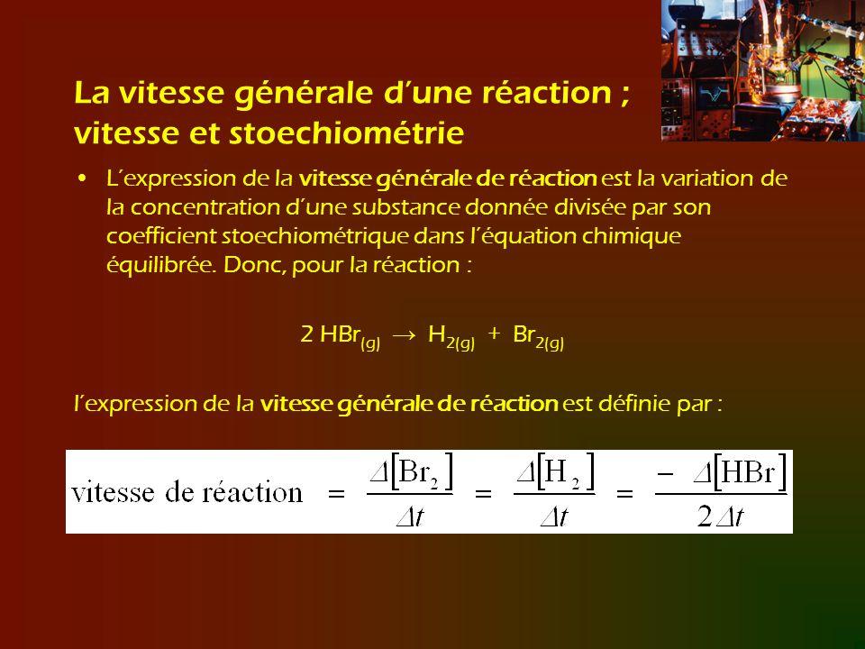 La vitesse générale dune réaction ; vitesse et stoechiométrie Lexpression de la vitesse générale de réaction est la variation de la concentration dune