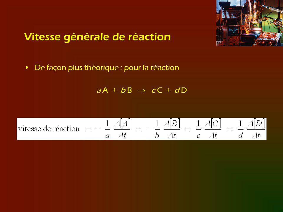 Vitesse générale de réaction De façon plus théorique : pour la réaction a A + b B c C + d D