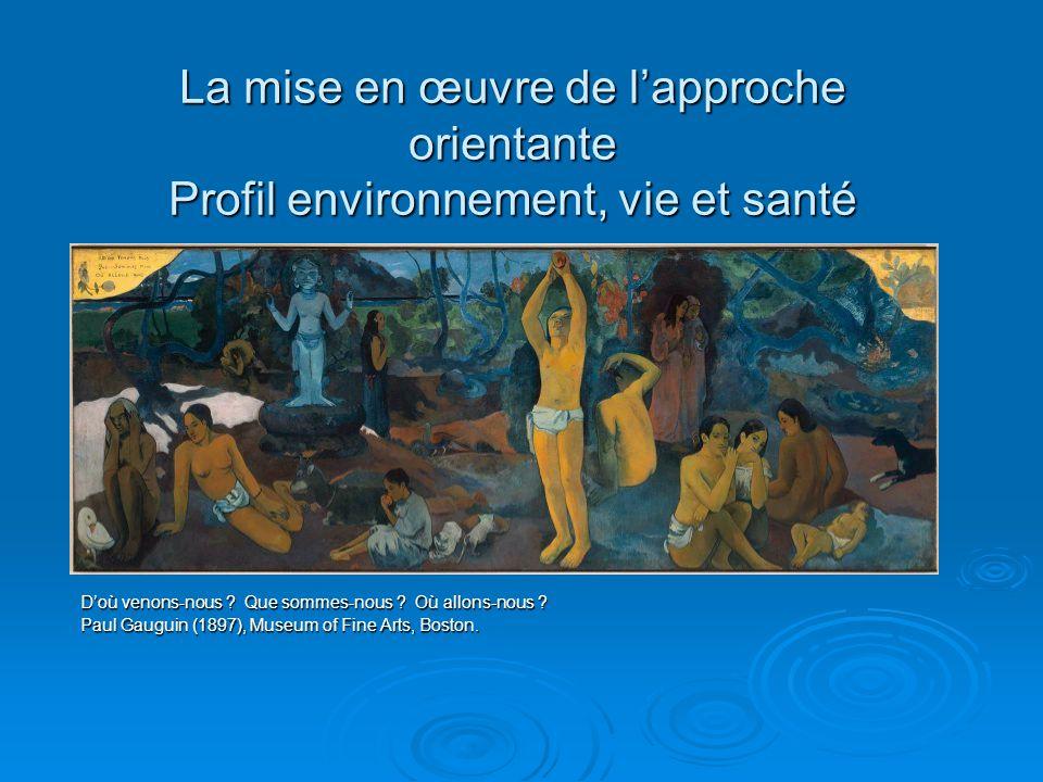 La mise en œuvre de lapproche orientante Profil environnement, vie et santé Doù venons-nous ? Que sommes-nous ? Où allons-nous ? Paul Gauguin (1897),