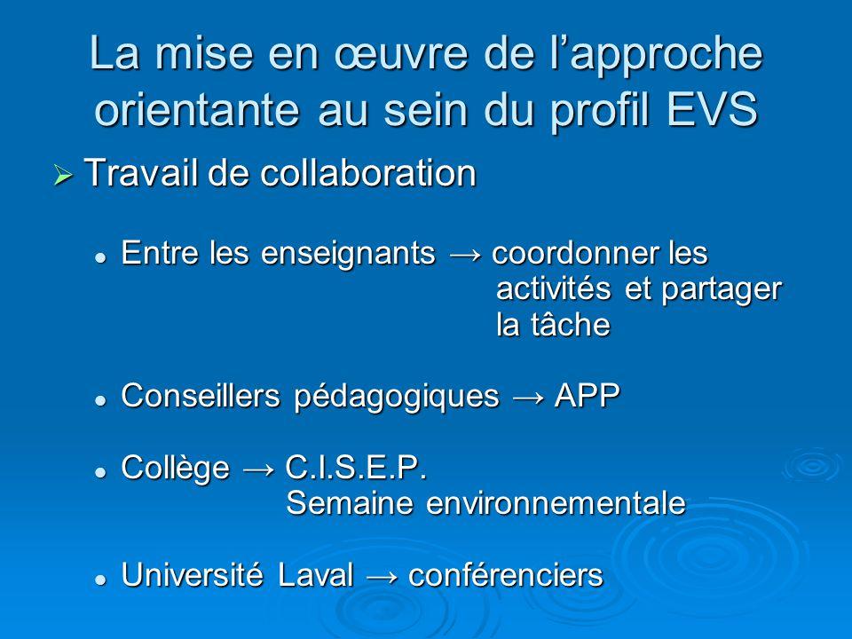 La mise en œuvre de lapproche orientante au sein du profil EVS Travail de collaboration Travail de collaboration Entre les enseignants coordonner les