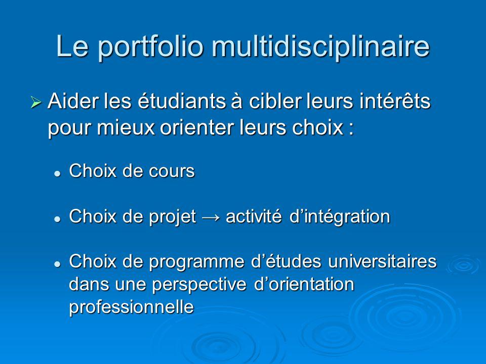Le portfolio multidisciplinaire Aider les étudiants à cibler leurs intérêts pour mieux orienter leurs choix : Aider les étudiants à cibler leurs intér