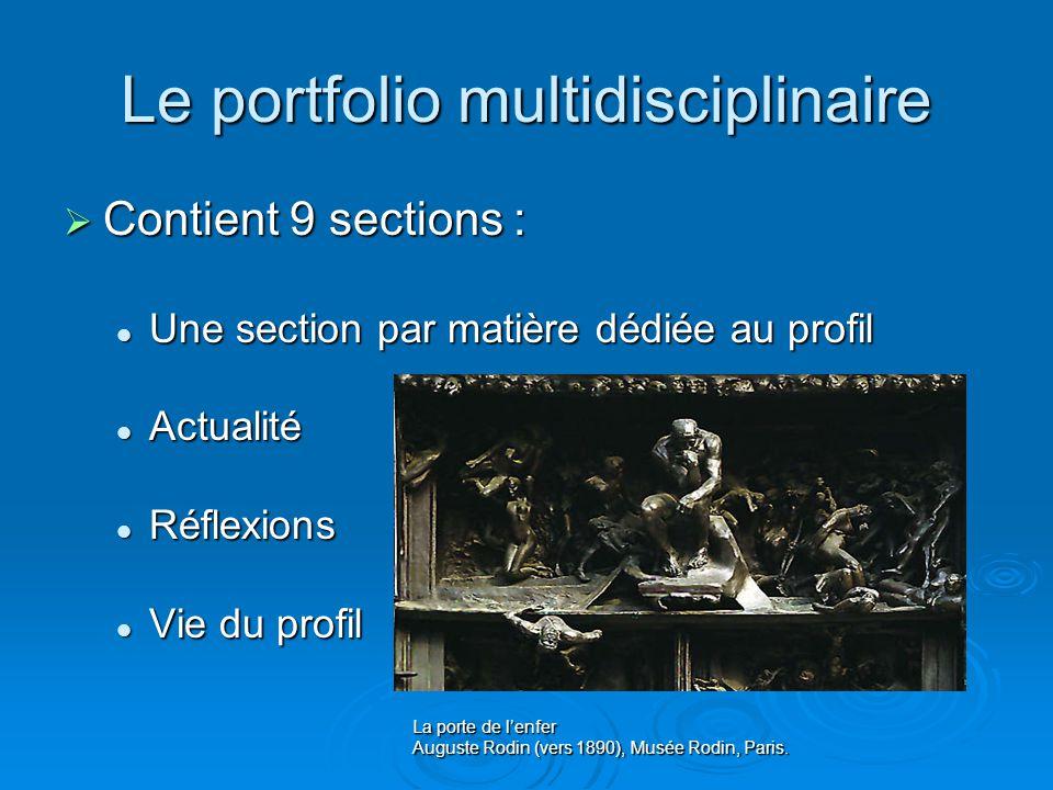 Le portfolio multidisciplinaire Contient 9 sections : Contient 9 sections : Une section par matière dédiée au profil Une section par matière dédiée au